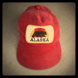 Vintage 80s Alaska Patch SnapBack Corduroy Hat Cap